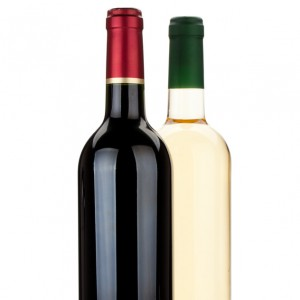 Red and white wine bottles. Isolated on white background